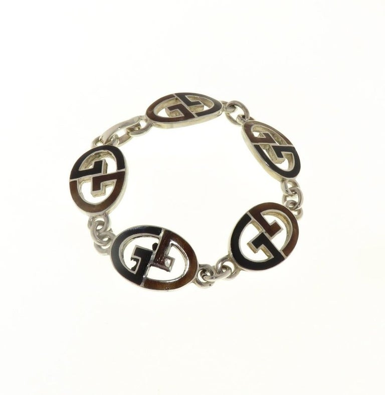 Women's Gucci Sterling Silver Black Brown Enamel Iconic Bracelet Handcrafted in Italy For Sale