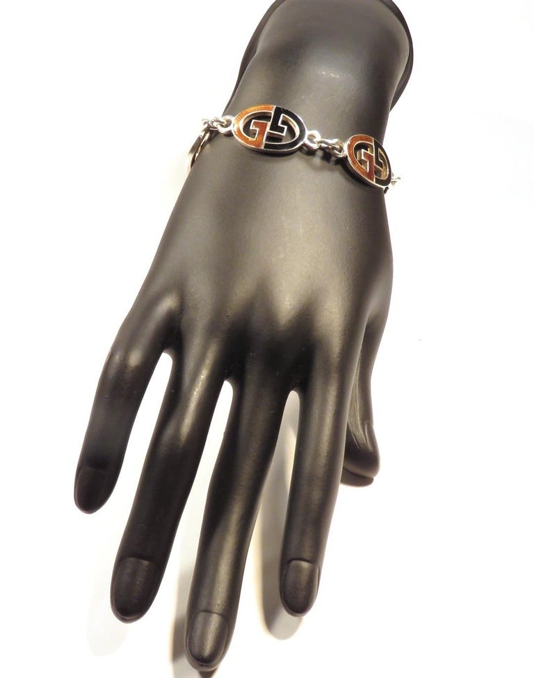 Gucci Sterling Silver Black Brown Enamel Iconic Bracelet Handcrafted in Italy For Sale 1