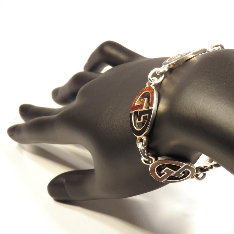 Gucci Sterling Silver Black Brown Enamel Iconic Bracelet Handcrafted in Italy For Sale 2