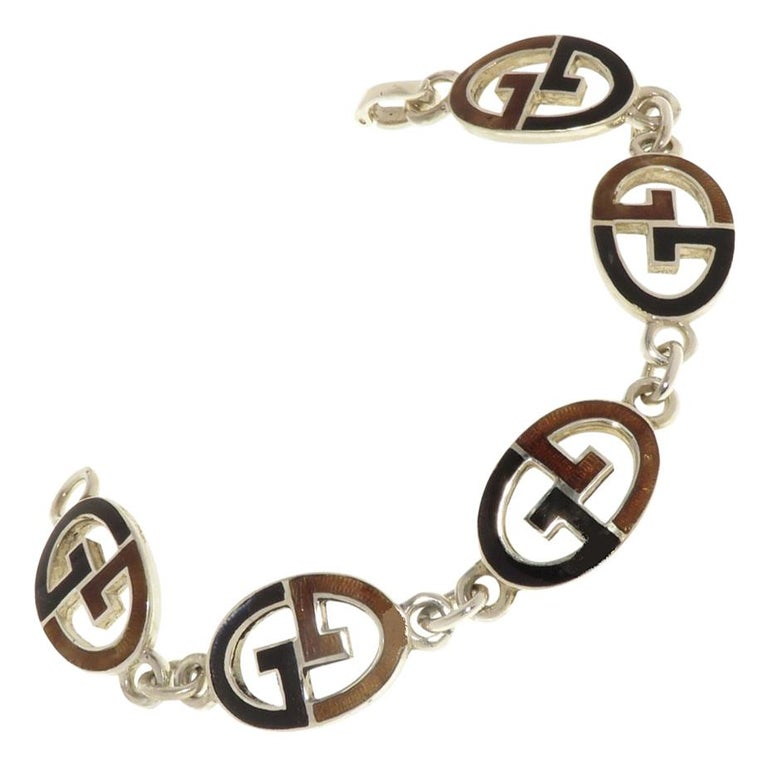 Gucci Sterling Silver Black Brown Enamel Iconic Bracelet Handcrafted in Italy For Sale