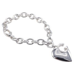 Gucci Sterling Silver Heart Charm Tag Link Bracelet