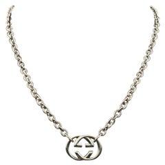 Gucci Sterling Silver Interlocking GG Pendant Chain Unisex Necklace