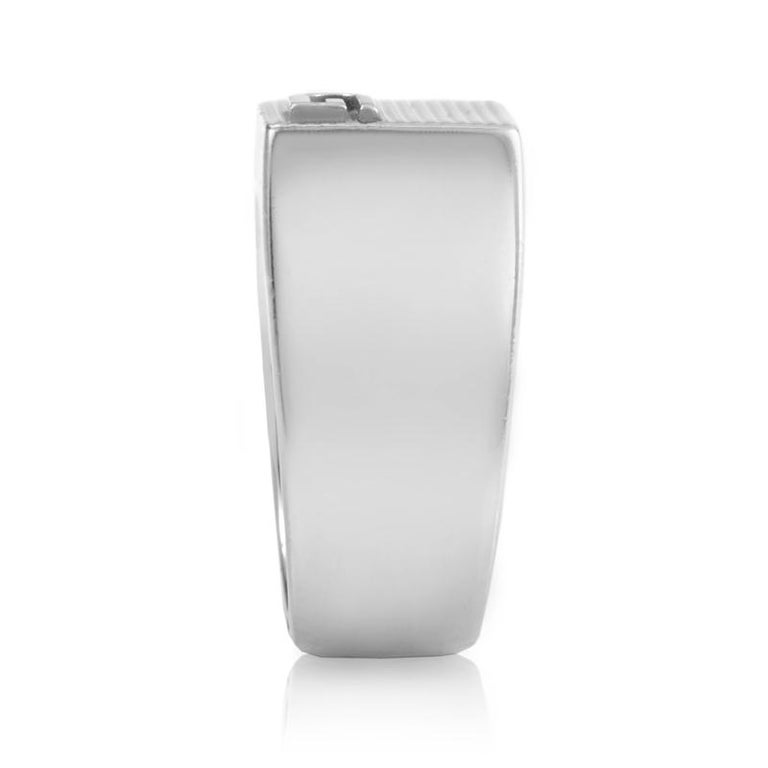 Gucci Sterling Silver Ridged Signet Ring 163117J84008106 In New Condition For Sale In Southhampton, PA