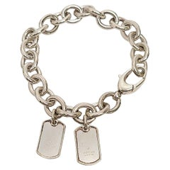 Gucci Sterling Silver Rolo Link Bracelet with Two Dog Tags