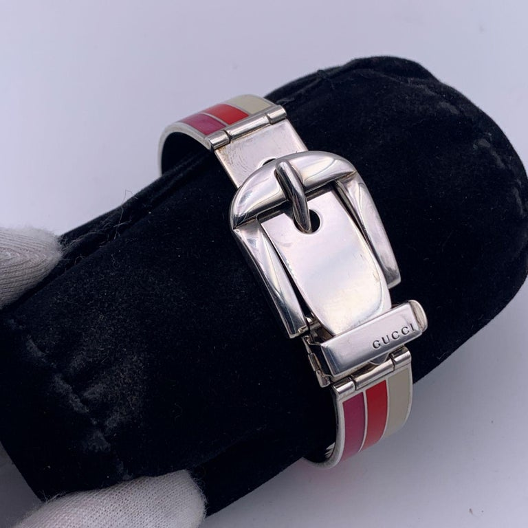 Gucci Sterling Silver Striped Garden Cuff Bracelet Size 18 In Excellent Condition In Rome, Rome