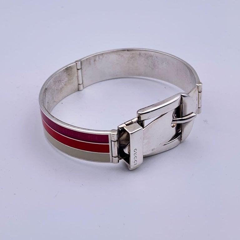 Women's Gucci Sterling Silver Striped Garden Cuff Bracelet Size 18