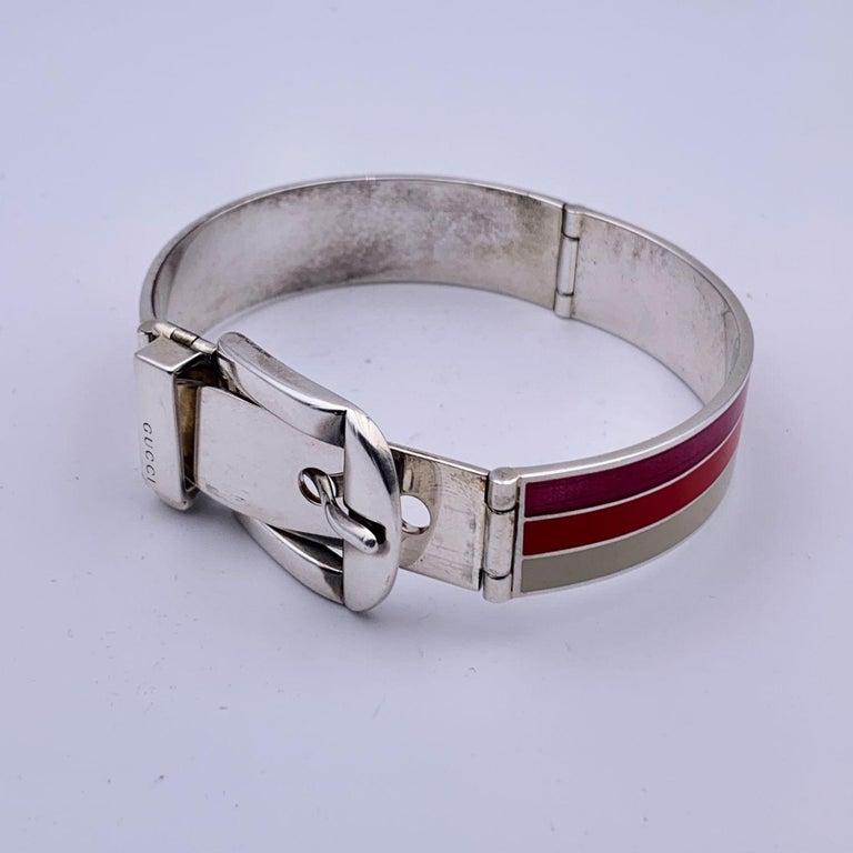 Gucci Sterling Silver Striped Garden Cuff Bracelet Size 18 1