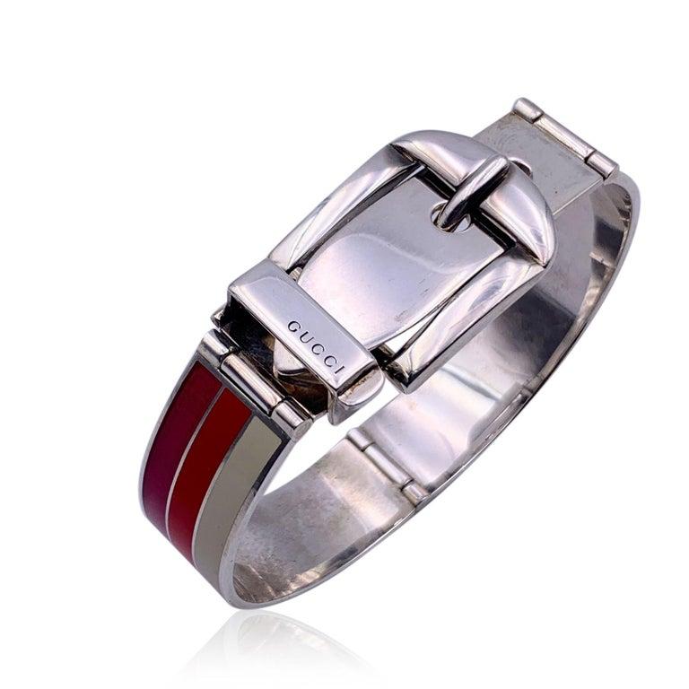 Gucci Sterling Silver Striped Garden Cuff Bracelet Size 18 2