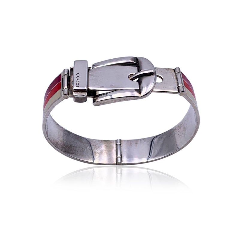 Gucci Sterling Silver Striped Garden Cuff Bracelet Size 18 3