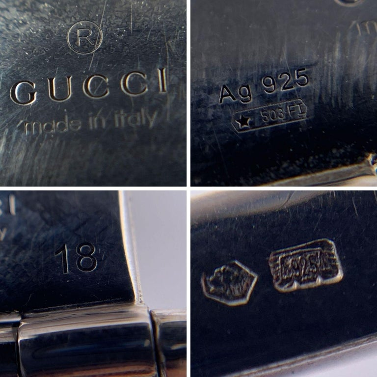 Gucci Sterling Silver Striped Garden Cuff Bracelet Size 18 5
