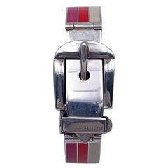 Gucci Sterling Silver Striped Garden Cuff Bracelet Size 18
