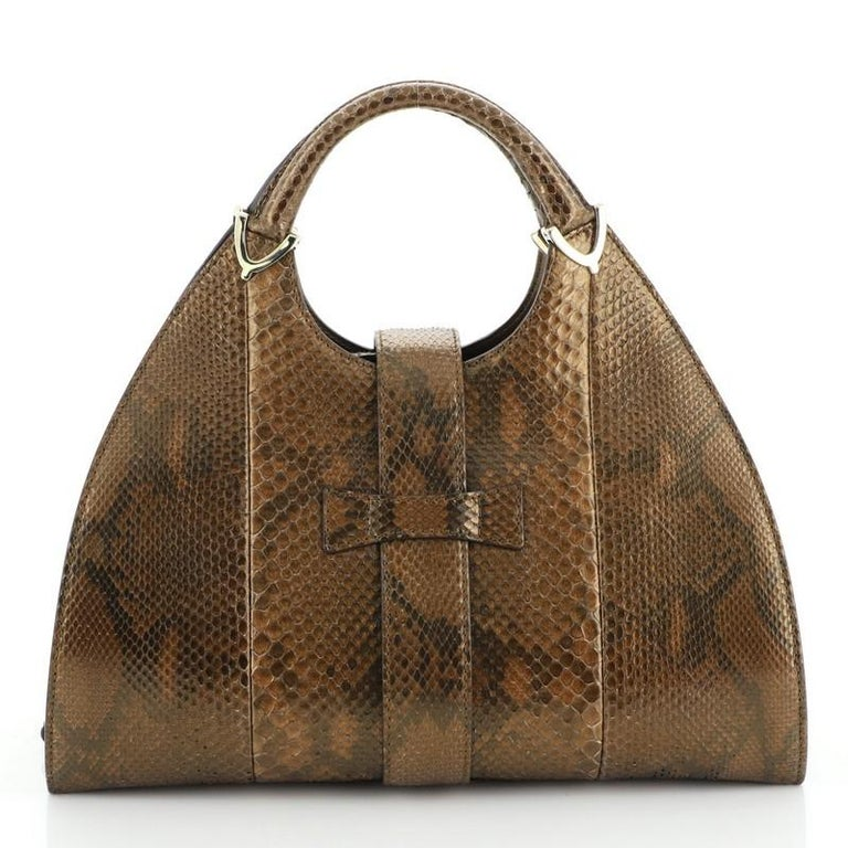 Gucci Stirrup Top Handle Bag Python Large In Good Condition For Sale In New York, NY