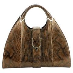Gucci Stirrup Top Handle Bag Python Large