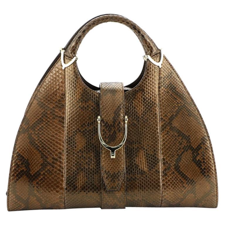 Gucci Stirrup Top Handle Bag Python Large For Sale