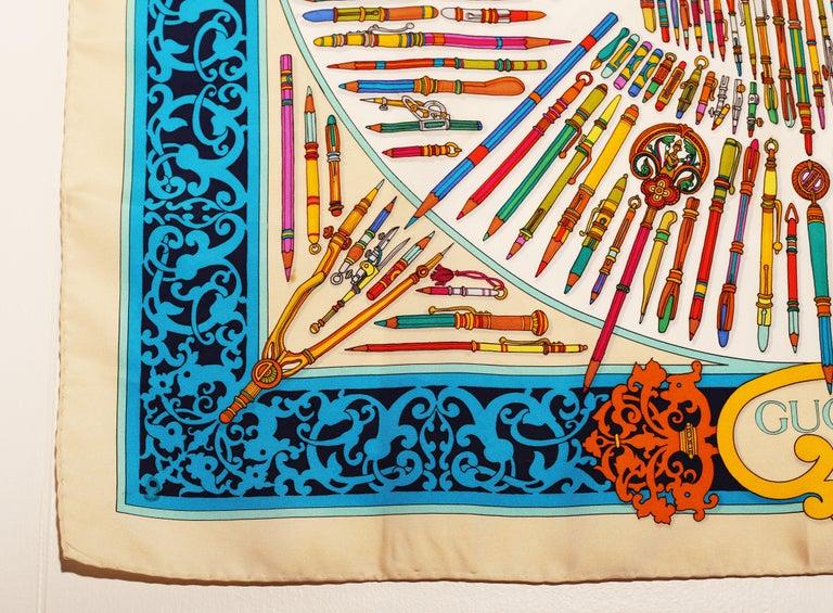 Women's or Men's Gucci Storia della Matita Silk Scarf For Sale
