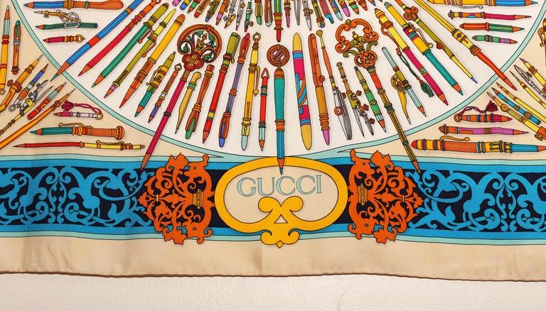 Gucci Storia della Matita Silk Scarf For Sale 1
