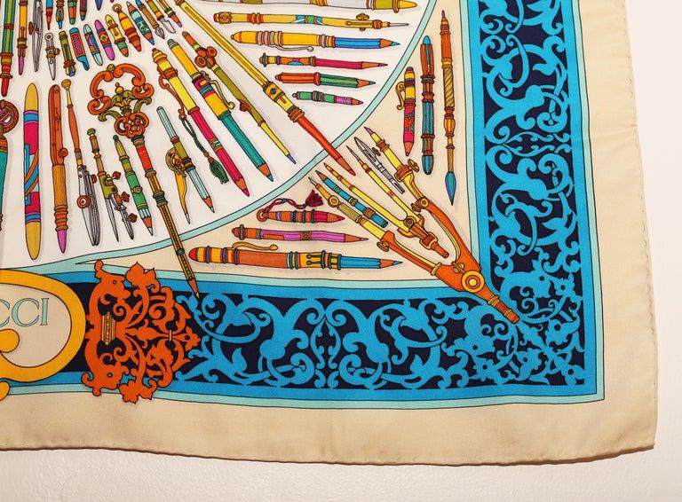 Gucci Storia della Matita Silk Scarf For Sale 2