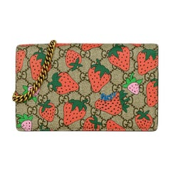 Gucci Strawberry Print GG Supreme Wallet on a Chain Crossbody Bag