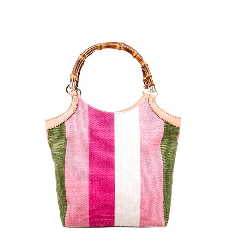 Pink Gucci Striped Baiadera Canvas & Leather Bamboo Handbag Bag Tote For Sale