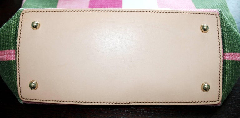 Women's or Men's Gucci Striped Baiadera Canvas & Leather Bamboo Handbag Bag Tote For Sale