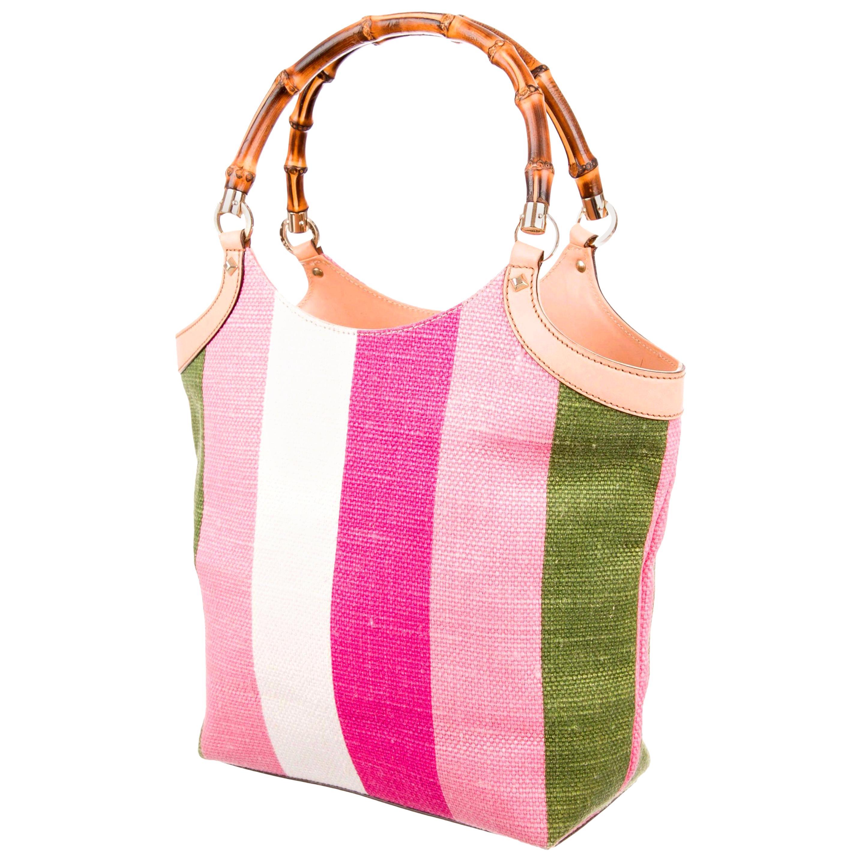 Gucci Striped Baiadera Canvas & Leather Bamboo Handbag Bag Tote