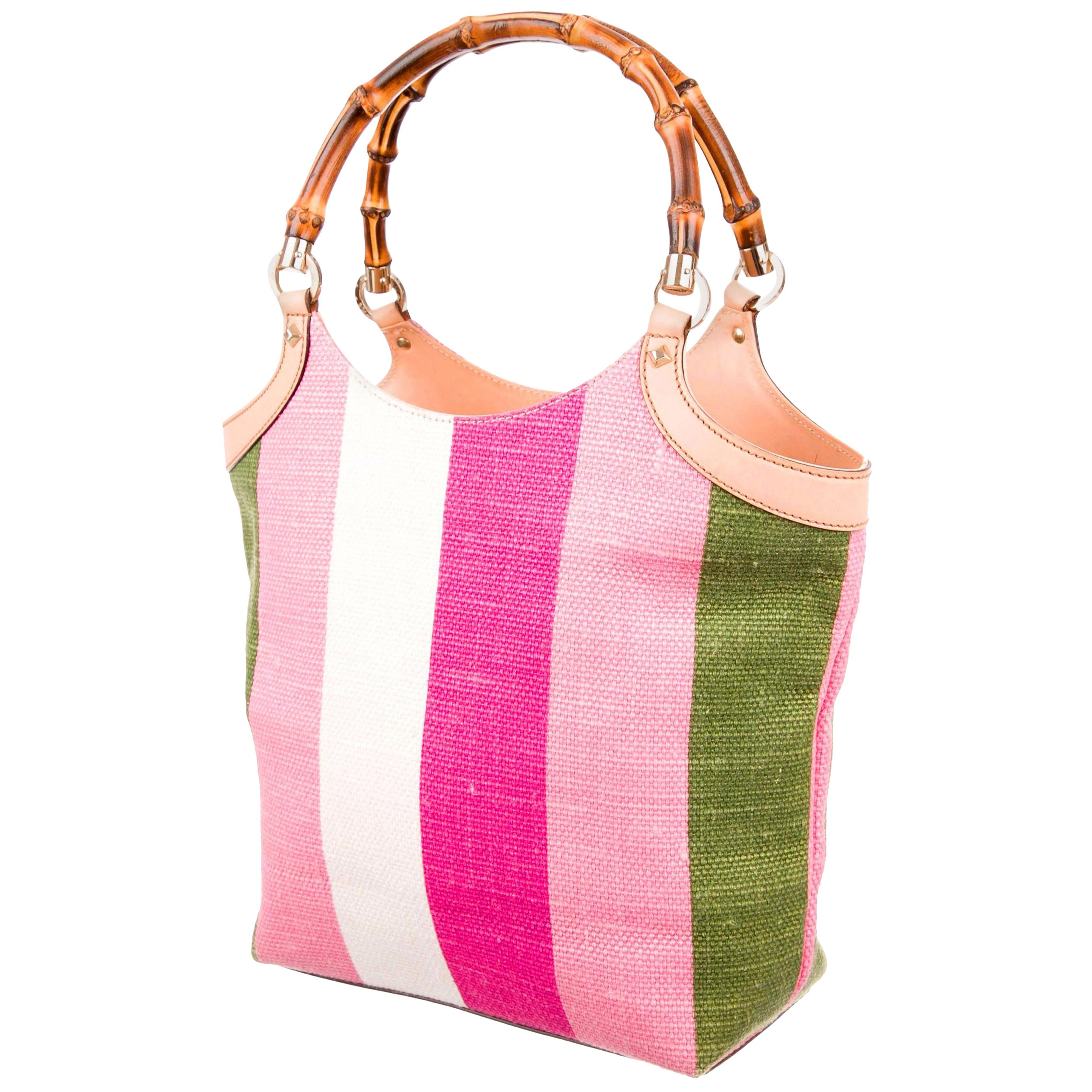 Gucci Striped Baiadera Canvas & Leather Bamboo Handbag Tote Bag with Studs