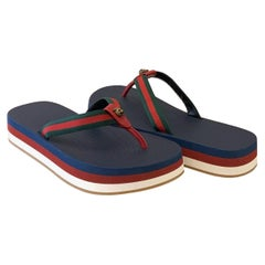 Gucci Striped Canvas Platform Flip Flops Sandals