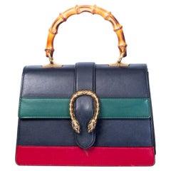 Gucci Striped Dionysus Medium Bamboo Top Handle Bag