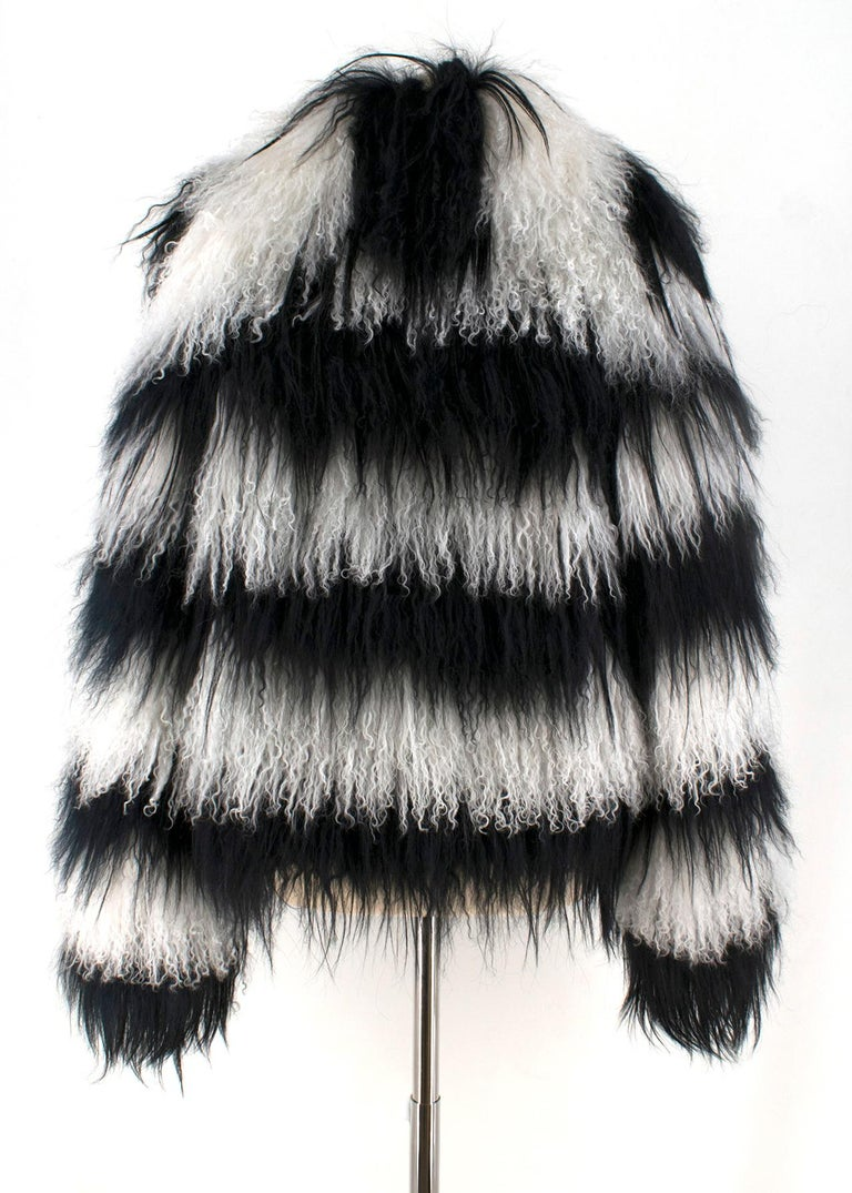 Gucci Striped Shearling & Goat Hair Jacket IT 40 In New Condition For Sale In London, GB