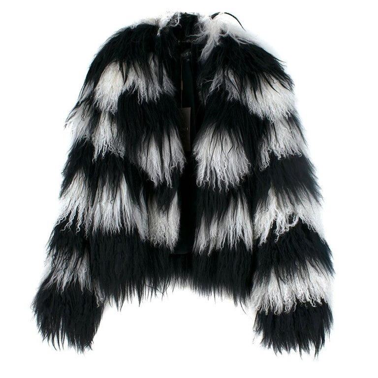 Women's Gucci Striped Shearling & Goat Hair Jacket IT 40 For Sale