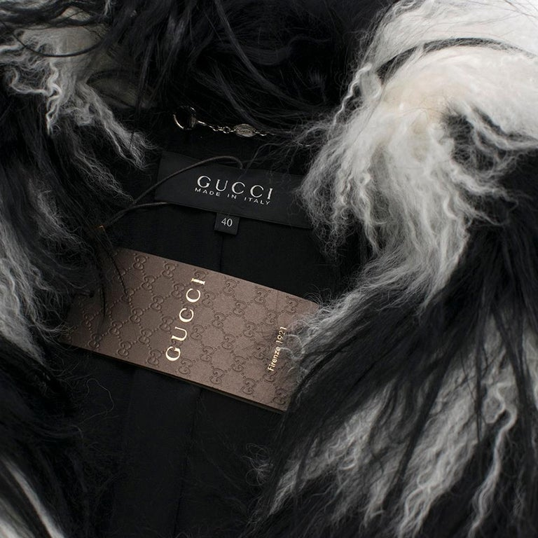 Gucci Striped Shearling & Goat Hair Jacket IT 40 For Sale 1