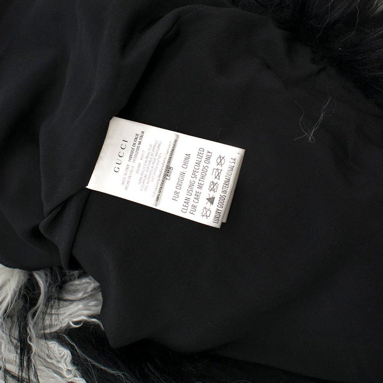 Gucci Striped Shearling & Goat Hair Jacket IT 40 For Sale 3