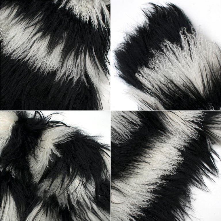 Gucci Striped Shearling & Goat Hair Jacket IT 40 For Sale 5