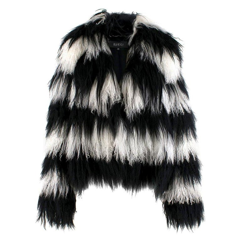 Gucci Striped Shearling & Goat Hair Jacket IT 40 For Sale