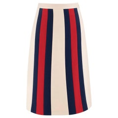 Gucci Striped wool and silk-blend crepe skirt SIZE 36