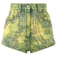 Gucci Studded Tiger-Embroidered Denim Shorts