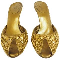 Gucci Studs Gold Sandals