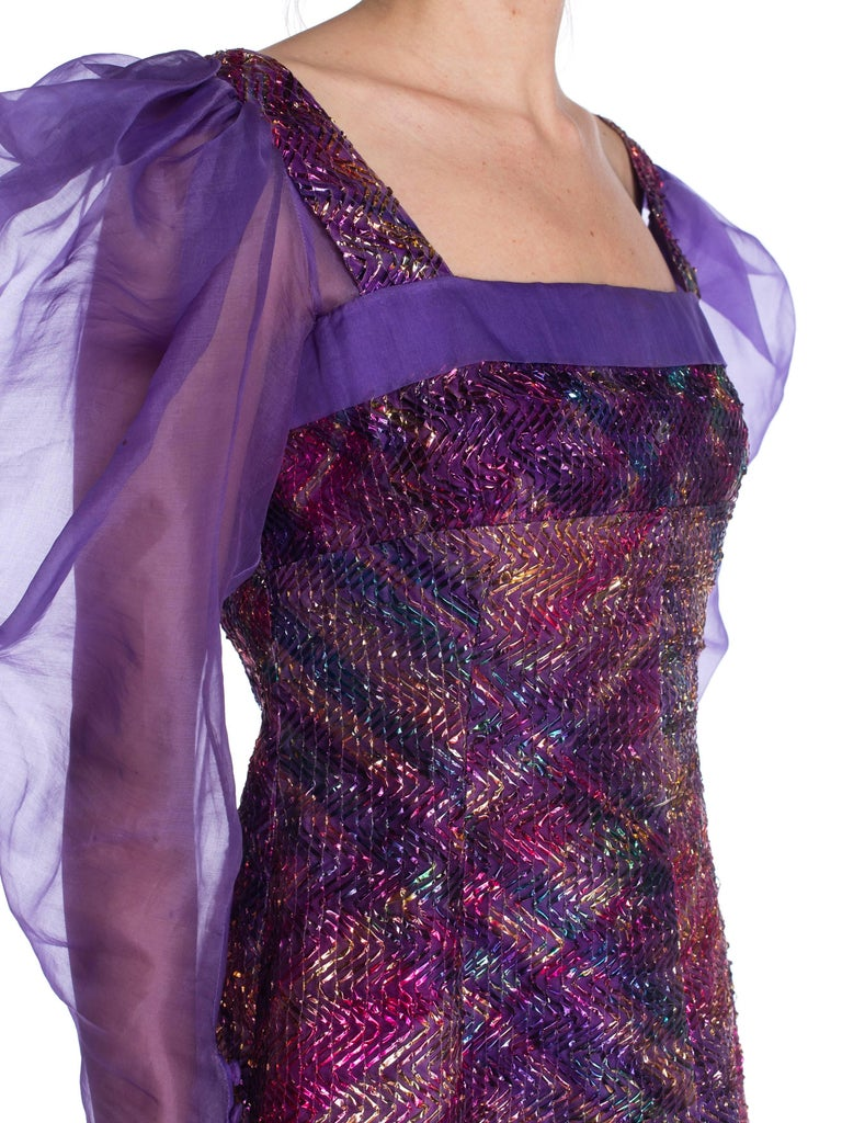 1970S Pink and Purple Silk Poof Sleeve Organza Metallic Foil Embroidered  Gown Fr For Sale at 1stDibs