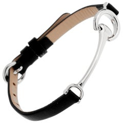 Gucci Style Horsebit White Gold Leather Bracelet
