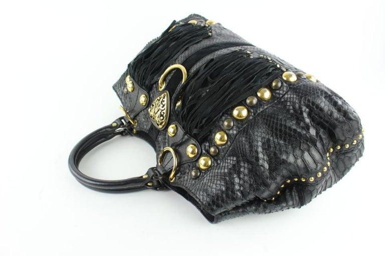 553002742c4b Women's Gucci Suede Fringe Large Tote 5gz0911 Black Python Skin Leather  Shoulder Bag For Sale