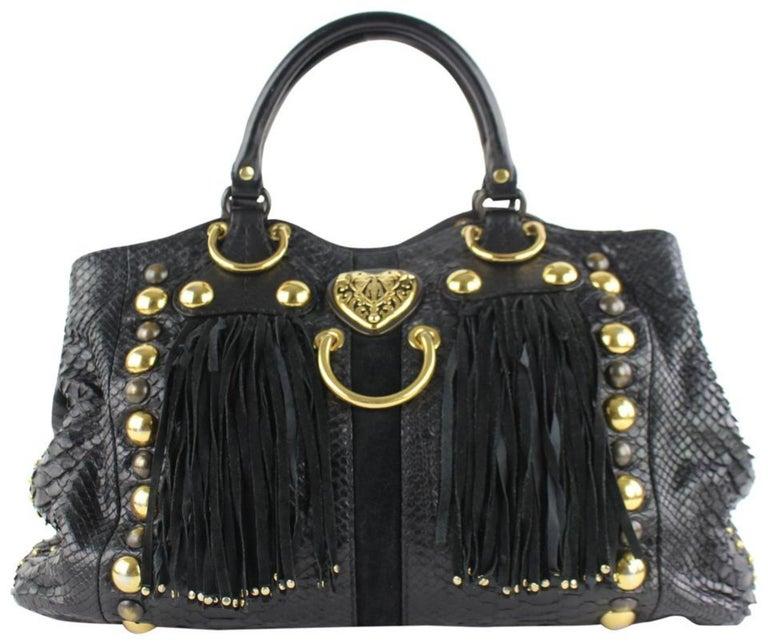 2b8207aed37d Gucci Suede Fringe Large Tote 5gz0911 Black Python Skin Leather Shoulder Bag  For Sale
