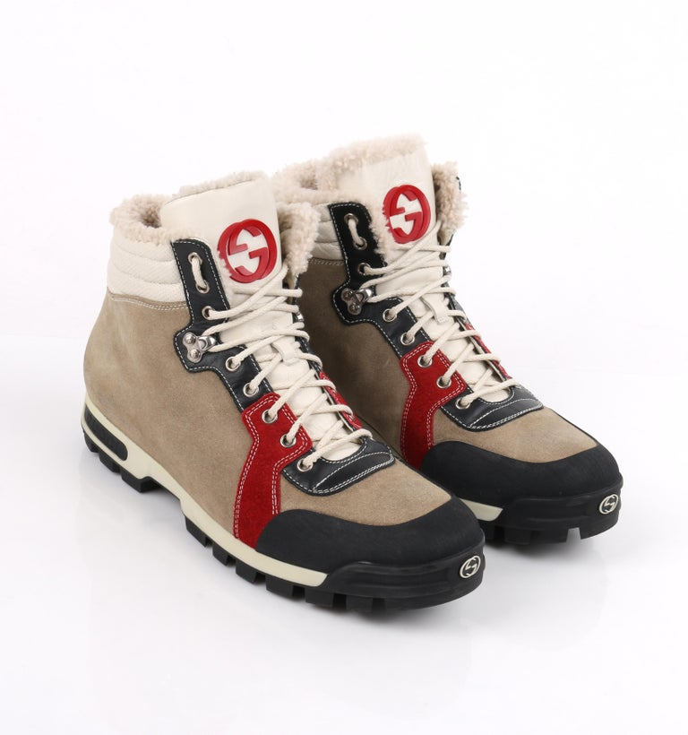 03a11174a22 GUCCI Suede Leather Shearling Lace Front Lug Sole Hiking Boots RARE For  Sale 2