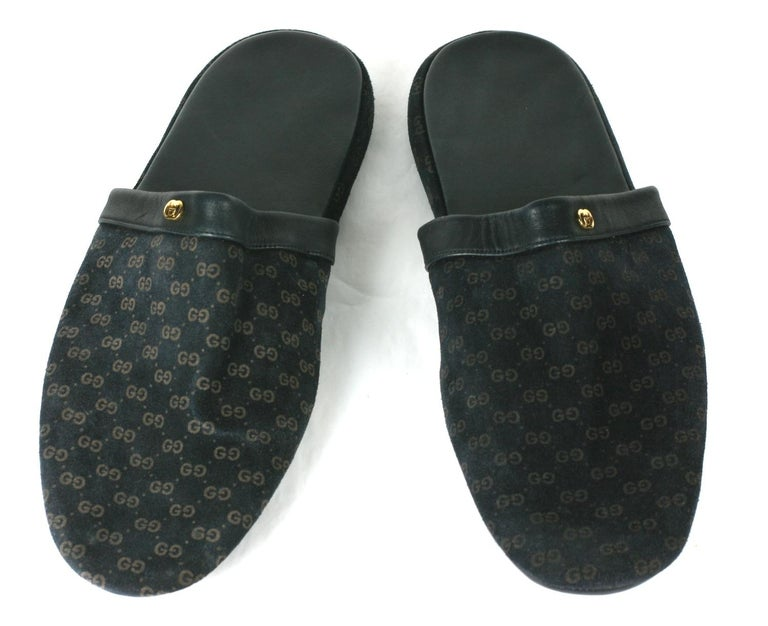 Gucci Embossed Logo Slippers in navy suede with original travel pouch. A gold