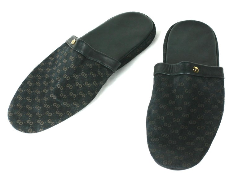 Black Gucci Suede Logo Slippers For Sale