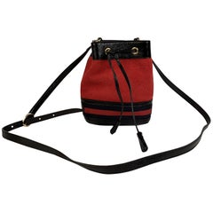 Gucci Suede Signature Web Ophidia Small Bucket Bag Red Black