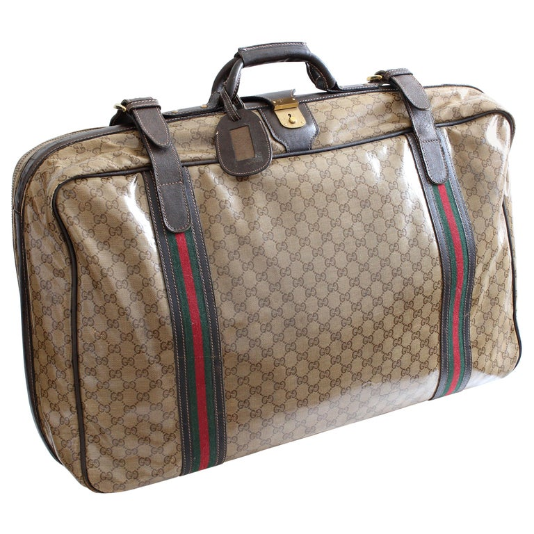 19f68f55e Gucci Suitcase Coated Canvas GG Logo Leather Soft Luggage Travel 28in  Vintage For Sale