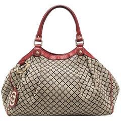 Gucci Sukey Beige Canvas Argyle Check Tote Bag
