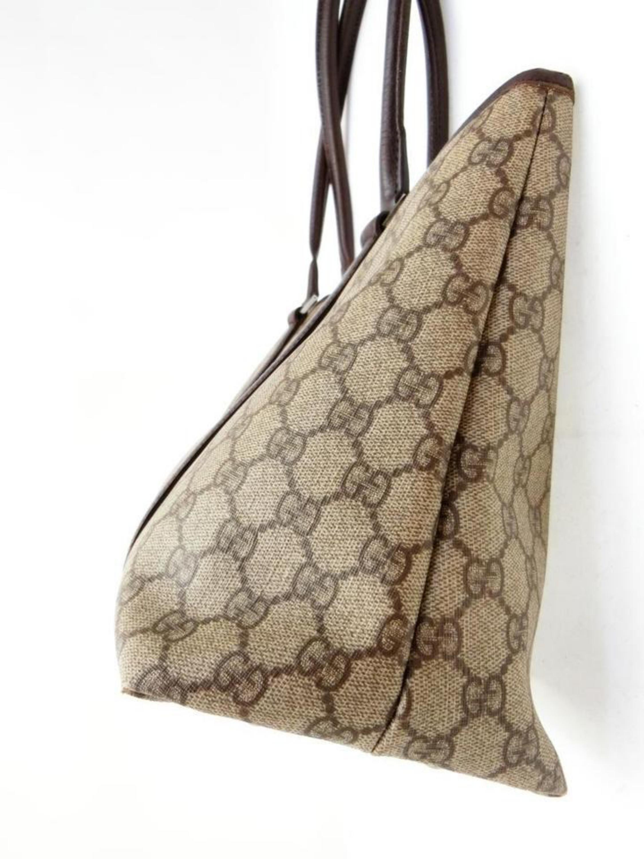 22e04c18979430 Gucci Supreme Gg Monogram Shopper 228812 Brown Coated Canvas Tote at 1stdibs