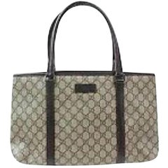d98331ec2f9 Gucci Supreme Monogram Gg Shopper 870025 Brown Coated Canvas Tote