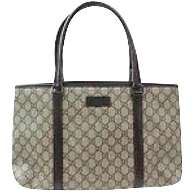 1874c4e49398b4 Gucci Supreme Monogram Gg Shopper 870025 Brown Coated Canvas Tote For Sale